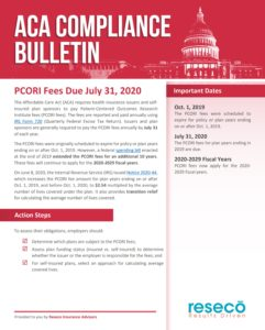 PCORI Fees Due July 31, 2020