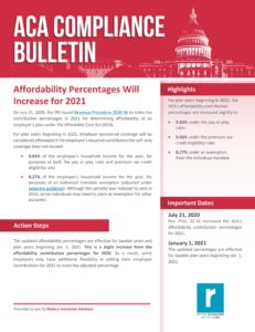 Affordability Percentages Will Increase for 2021