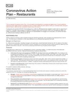 Coronavirus Action Plan - Restaurants