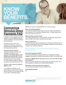 Coronavirus Stimulus Direct Payments FAQ - Resecō