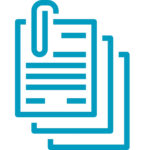 Documents and paperclip icon teal