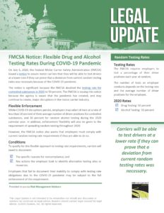 FMCSA Notice - Flexible Drug and Alcohol Testing Rates During COVID-19