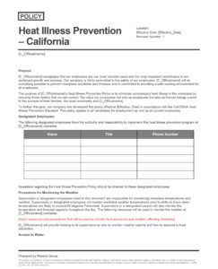 Heat Illness Prevention – California Policy