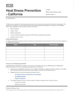 Heat Illness Prevention Plan - California