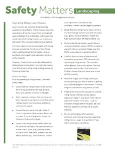 Landscaping Safety Matters - Operating Riding Lawn Mowers