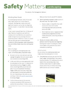 Landscaping Safety Matters - Working Near Roads