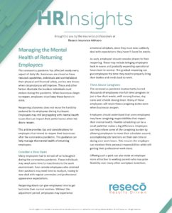 Managing the Mental Health of Returning Employees
