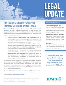 IRS Proposes Rules for Direct Primary Care and Other Plans