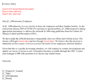 Office Closing for COVID-10 Letter