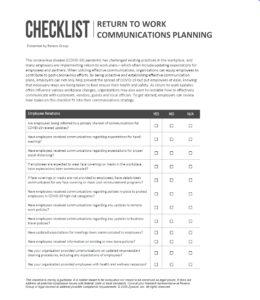 Return to Work Communications Planning Checklist