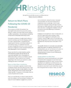 Return to Work Plans Following the COVID-19 Pandemic
