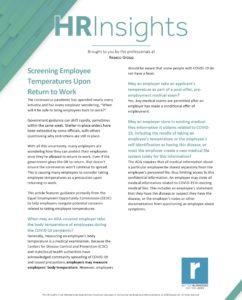 Screening Employee Temperatures Upon Return to Work