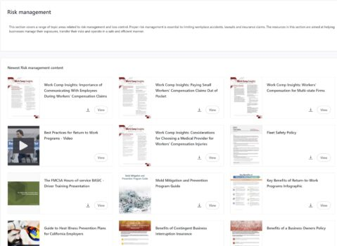 Image of Risk Management offerings on the resecoconnect portal