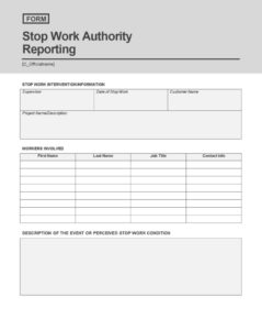 Stop Work Authority Reporting Form