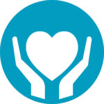 Hands holding the heart shape icon teal
